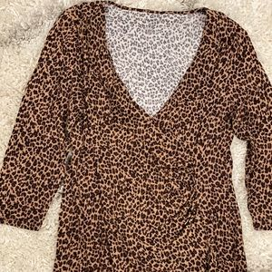 Talbots Leopard Print Ruched Knit 3/4 Sleeve - MP